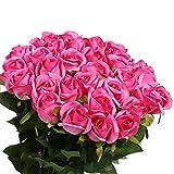 Veryhome 10 Pezzi Fiori Artificiali Rose di Seta Falso Bouquet da Sposa da Sposa per la casa Giardino Partito Decorazioni Floreali (Rosa Rossa, bocciolo di Rose)