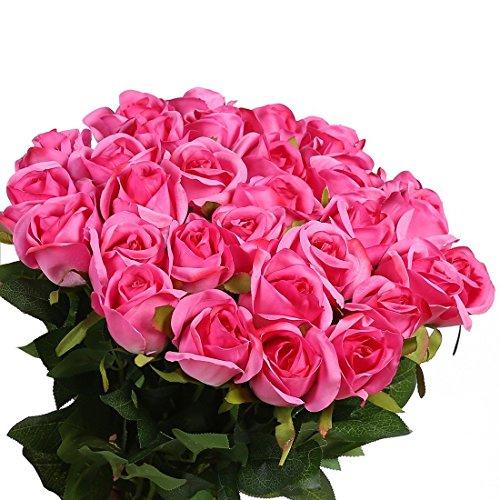 Veryhome 10 Stücke Künstliche Rosen Silk Blumen Gefälschte Flowers Braut Hochzeit Bouquet Für Hausgarten Geburtstag Party Home Wedding Dekor (Rose rot - Rosenknospe)