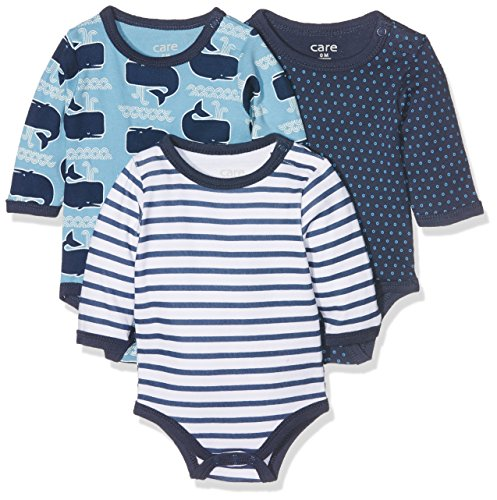 Care - 550132 - Body - lot de 3 - Bébé Garçon - Multicolore (Deep Skye Blue) - 86 cm