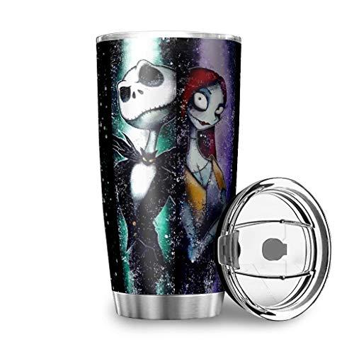 Dessionop Botella de agua Tumbler para Halloween, diseño de Jack de terror, taza de 20 onzas, a prueba de fugas, color blanco, 15 900 ml
