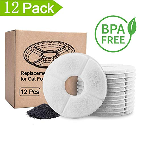 Pet Fountain Filter Replacement - 12 Packs, Pet Water Fountain Filter, Pet Fountain Automatic Water Dispenser Filters Activated Carbon Drinking Water Fountain Filters Replacement (12PCS)