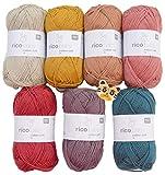 Woll-Set Babywolle Rico Baby Cotton Soft dk 7x50g #64, Baumwollmischgarn und Holzknopf Tiger, weiche Wolle zum Stricken und Häkeln