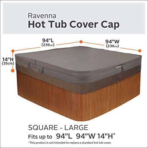 Classic Accessories Ravenna Water-Resistant 94 Inch Square Hot Tub Cover