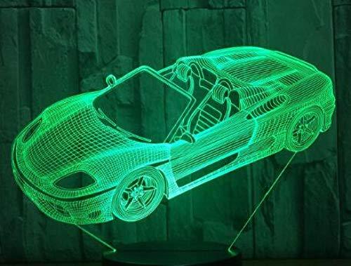 Preisvergleich Produktbild ZSSYD Led Nachtlicht Für Kinder,  16 Farben Multi-Wählen Sie Kühles Sportwagen-Nachtlicht-Farbänderung Geführtes Schreibtisch-Dia-Jungen-Geschenk Vor 3D-Nachtlicht 16 Farben,  Die Nachtlichter Für Kind