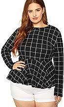Milumia Women's Plus Size Elegant Plaid Long Sleeve Ruffle Hem Peplum Blouse Top Black XX-Large Plus