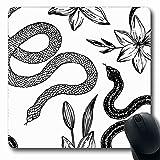 Jamron Tappetino per il mouse OblongMascot Motivo floreale Disegnato a mano Inchiostro Serpente Animali Fauna selvatica Raccapricciante Velenoso Mamba Tessile Natura Tappetino per mouse in gomma antis