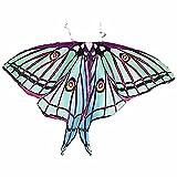 Ryshman Women Cape Halloween Shawl Wrap Printed Butterfly Wing/Peacock/Pumpkin Cloak (Green)