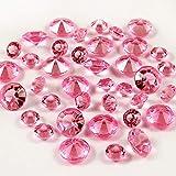 Manshui 1000 Piezas 10mm Rosado de Cristal acrílico Diamantes Mesa de Confeti, Floreros Rellenos de Perlas Decoración (Rosado, 10mm)