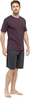 Mens/Gentlemens Nightwear/Sleepwear Striped Short Sleeve T-Shirt & Shorts Pyjama Set