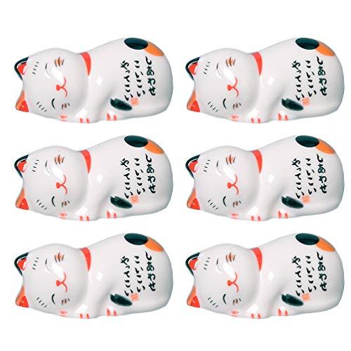 Yardwe 6St. Stäbchenhalter Essstäbchen Halter Keramik Glückliche Katze Figur Statue Ornament Stäbchen Halter Esslöffel Gabel Ständer für Zuhause Restaurant Geburtstag Ostern Party Tischdeko