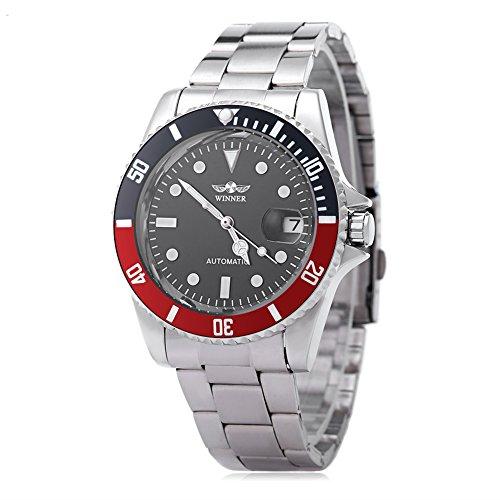 Reloj W042602 de pulsera automático para hombre, movimiento mecánico, luminoso, pantalla con fecha, tapa trasera transparente, de la marca Winner