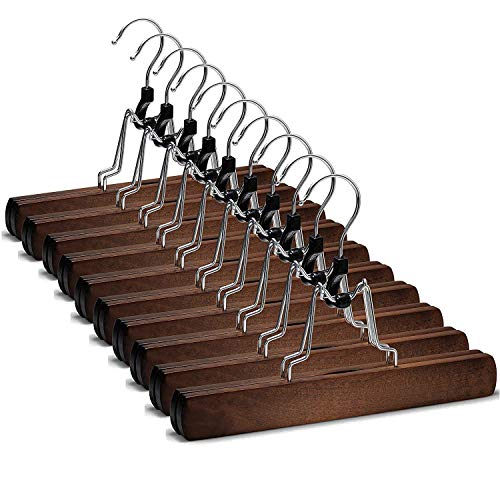 High-Grade Wooden Pants Hangers with Clips Non Slip Skirt Hangers Smooth Finish Solid Wood JeansSlack Hanger with 360° Swivel Hook - Pants Clip Hangers for Skirts Slacks 10 Pack Vintage Wood