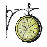 Reloj de pared de doble cara, reloj de jardín, reloj vintage al aire libre, diseño de doble cara, reloj de pared de doble cara, funciona para decoración de pared de jardín