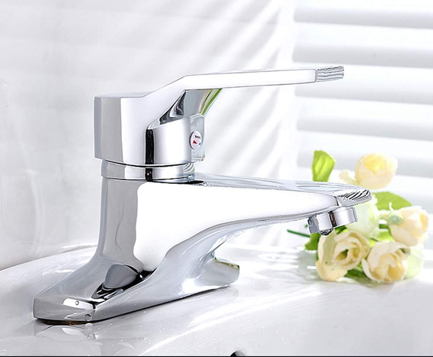 All-Copper Body Double-Hole Basin Faucet redatable hot and Cold Faucet Single Handle Double Hole Three-Hole washbasin washbasin Faucet Above Counter Basin washbasin Faucet