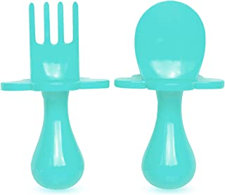 GRABEASE First Self Feed Baby Utensils with a Togo Pouch - Anti-Choke, BPA-Free Baby Spoon and Fork Toddler Utensils - Toddler Silverware for Baby Led Weaning Ages 6 Months+, Teal