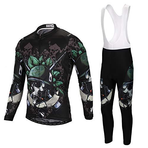 SKYSPER Set Abbigliamento da Ciclismo Completo Ciclismo Uomo Professionale Maglia Maniche Lunghe+Pantaloni Lunghi con 3D Cuscino per Ciclismo MTB Bicicletta Bici da Corsa