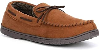 Roundtree & Yorke Men's Whipstitch Moccasin Slippers, Chestnut Brown (S 7-8)