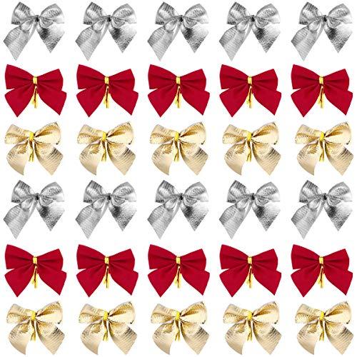 Toyvian 36 Stücke Weihnachten Schleifen Ziehschleife Geschenkschleife Geschenkband Glitzer Bogen für Baumschmuck Weihnachtsdeko Geschenkverpackung (Rot, Golden und Silber)