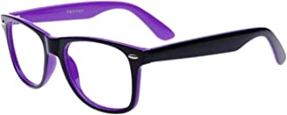 Blue Light Blocking Computer/Gaming Readers Glasses Anti Glare Anti Eyestrain Clear Lens Visual Color Real Round Vintage Hipster Frame,0.00,No Magnification (Outside Black Inside Purple)