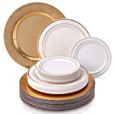 MODERN ELEGANT DISPOSABLE 60 PC DINNERWARE SET | Heavy Duty Plastic Dishes | 20 Chargers | 20 Dinner Plates | 20 Salad Plates | for Upscale Wedding and Dining | Golden Glare Collection (Ivory/Gold)