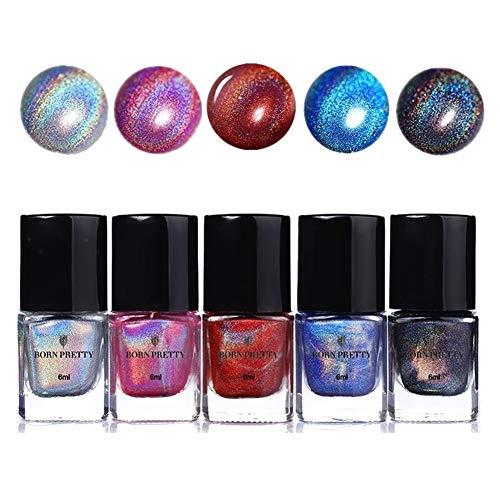 BORN PRETTY holographischer Nagellack Laser holo nagellack set Maniküre Normaler Nagellack Lack 5 Farben