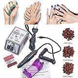 Pulidor Esmeril limas de uñas profesionales eléctricas Máquina lijadora Pedicura lijadora eléctrica con 6 Brocas Pulidor Broca y 150 bandas de lijado Torno para uñas para Manicura y Pedicura