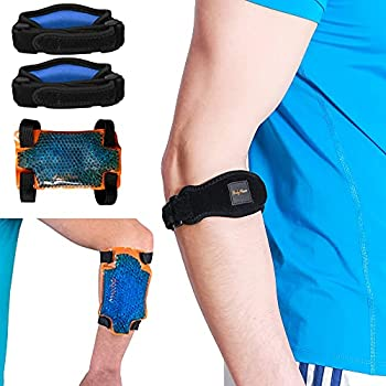 BodyMoves Tennis Elbow Brace  2pcs  plus hot and cold ice pack Support Gear for Sports Daily Use to Reduce Joint Pain and Treat Tendonitis Bursitis Basketball Golfers elbow gym
