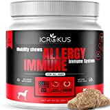 ICROKUS Probiotics for Dogs Allergy Relief Immunity Supplement for Dogs - Bee Pollen Organic Licorice Root, Digestive & Probiotic for Dog - Seasonal Allergies Skin Itch & Hot Spots - 120 Chew Treats