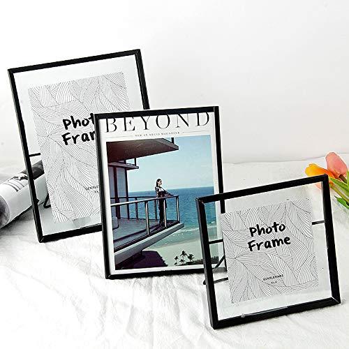 DIAZ Woondecoratie Geschenken Liefdesbrief Frame Creatief Zwart/Glod Metaal & Glas Fotolijst Portrethouder Vrijstaande DIY Fotolijst, zwart, 4 inch