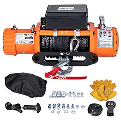 AC-DK 12000 lb. Load Capacity Electric Winch Kit,12V Truck Winch with Synthetic Rope,Waterproof IP67 Electric Winch with Hawse Fairlead,with 2 Wireless Remote and Wired Handle(Orange)