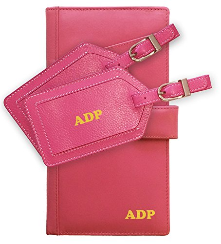 Personalized Monogrammed Hot Pink Leather RFID Travel Wallet and 2 Luggage Tags