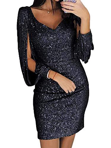 Minetom Damen Mini Dress Abendkleider Sexy V-Ausschnitt Cocktailkleid Glänzend Hoch Maxikleider Hochzeit Festlich Pailletten Bodycon Dress Schwarz DE 44