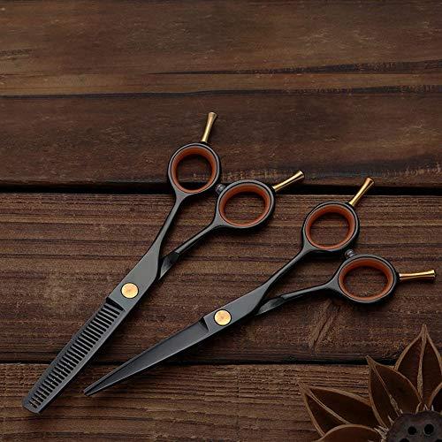 LTH-GD Tijeras de barberoKit para el Pelo de Recorte Tijeras de peluquería con Doble Cola de Colores, Tijeras Planas y de Dientes Tijeras de peluquería Profesional (Color : Black)