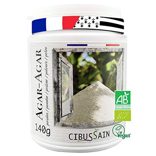 Agar-Agar en Poudre 140g | Gélatine Alimentaire Bio Made in France | Effet de Satiété Naturel | Gelatine Agar Agar Végétale Vegan et Halal | BONUS de 10 Recettes !