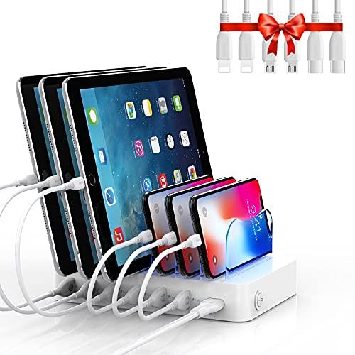SooPii Stazione di Ricarica USB a 6 Porte Caricatore USB, 6 Cavi di Ricarica Inclusi, per Cellulari, Tablet e Altri Dispositivi Elettronici