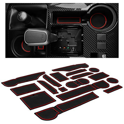 CupHolderHero for Toyota 4Runner Accessories 2010-2021 Premium Interior Non-Slip Anti Dust Cup Holder Inserts, Center Console Liner Mats, Door Pocket Liners 27-pc Set (2 Rows of Seats) (Red Trim)