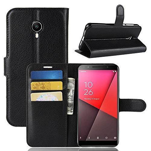 GFMING con La Billetera Y El Sostenedor Y Ranuras For Tarjetas, Litchi Textura Horizontal Tiro Funda De Piel For Vodafone Smart N9 Light/VFD 620 Carcasa de telefono (Color : Black)
