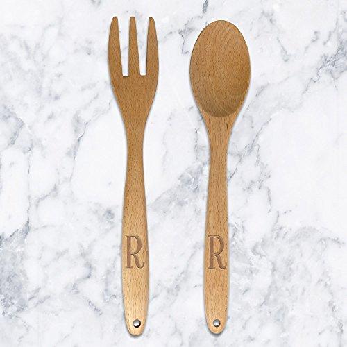Personalized Direct Custom Monogram Wooden Salad Spoon & Fork Set