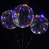 18 Inch 5 PCS 3 Mode Flashing Led Light Up BoBo Balloons Colorful/ WarmWhite Fillable Transparent Balloons with Helium, Great for Christmas Party, House Decorations, Graduation (Colorful Flashing)
