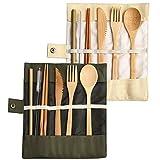 GAKIN 2 juegos de bambú cubiertos utensilios de viaje reutilizables vajilla set para hogar cocina fiesta viaje