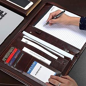51GLHBr 60L. SS300  - Leathario Carpeta de Conferencias Organizadora Personal de Viaje Portafolio de A4 Documentos con Cierre de Cremallera…