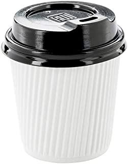50-CT Disposable Black Lid for 4-OZ Coffee and Tea Cups: Perfect for Coffee Shops, Juice Shops, and Restaurant Takeout – Recyclable Polystyrene Cup Lid – Restaurantware