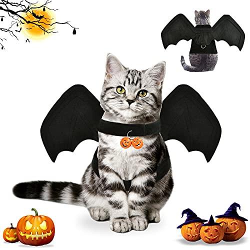 Halloween Bat Wing Costume,Pet Bat Costume,Deguisement Halloween pour Chat,Animaux de Compagnie Bat Wings,Apportez 2 Cloches de Citrouille,Convient à la Plupart des Chats et des Chiens. (M)