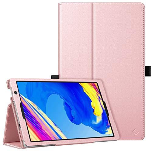 Fintie Folio Funda para Vankyo S20 Tablet 10 Pulgadas - Funda Protectora de Cuero Sintético con Banda Elástica para Stylus, Oro Rosa