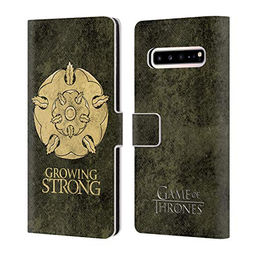Head Case Designs Officially Licensed by HBO Game of Thrones Tyrell Dark Distressed Sigils Leather Book Wallet Case Cover Compatible with Samsung Galaxy S10 5G