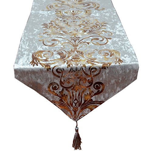 Yingsen New Hot Stamping Contracted Classic Table Runner (13x98 inch, Gray)