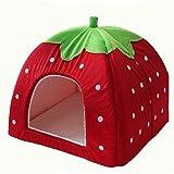 Pet Online Yurts kennel fresas clásica casa pet contraíble, S: 31 * 31 * 31 cm, rojo