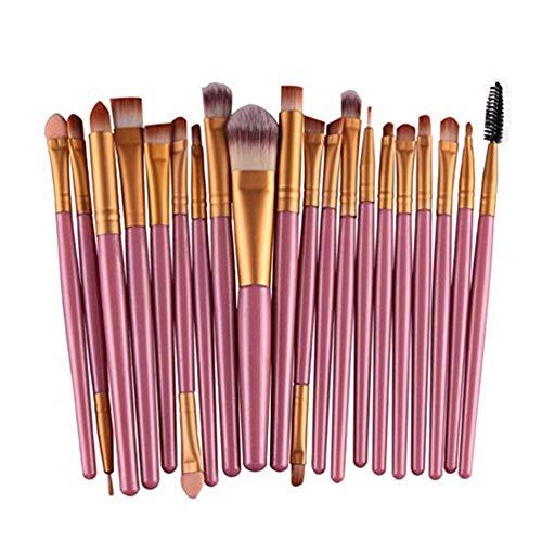 AKKL Cepillos de Sombra de Ojos Set 20pcs Maquillaje Cepillos de Ojos Sombra de Ojos Blending Brush Eyebrow Eyeliner Pincel de Labios Pinceles de Belleza, los Mejores para Regalos (Color : Pink)