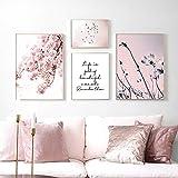 Flores de Cerezo Cielo Rosa Cita de pájaro Poster Vogue Arte de la Pared Impresiones Cuadros de Estilo nórdico Sala de Estar Dormitorio Moda Flor Pintura de la Lona Decoracion del hogar