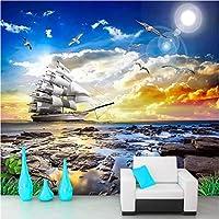写真の壁紙3D立体空間カスタム大規模な壁紙の壁紙 カモメの航海の壁の装飾リビングルームの寝室の壁紙の壁の壁画の壁紙テレビのソファの背景家の装飾壁画-450X300cm(177 x 118インチ)